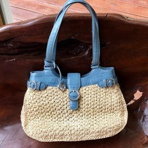 BRIGHTON Woven Straw & Blue Leather Purse